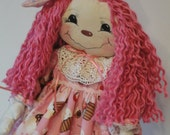 Rag Cloth Art doll with pink cupcake dress and pink hair