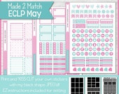 ON SALE - Printable May Planner Sticker Kit, Made 2 Match Erin Condren Life Planner, ECLP Stickers Blue/Pink - Instant Download