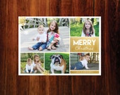 Merry Christmas Photo Card Gold Snowflakes  - digital file, you print