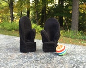 Stay on Mittens in Baby or Toddler Sizes in Black Fleece
