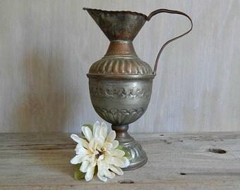 vintage metal pitcher vase   tinned etched copper pitcher   rustic boho home decor