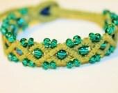 simple micromacrame beaded hemp bracelet, macrame, hippie, music festivals, handmade, natural, seed beads