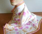60s Vera Ladybug Scarf - Pink Tulips - Pink Brown - Designer Vera Neumann - Vintage 1960s