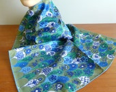 "60s Vera Ladybug Scarf - Blue Green White Flowers - Scales Tombstones Seatbacks - Designer Vera Neumann - Vintage 1960s - 22"" square"