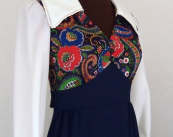Vintage 70's Maxi Dress Navy Blue Floral White Collar Polyester Size XS / S