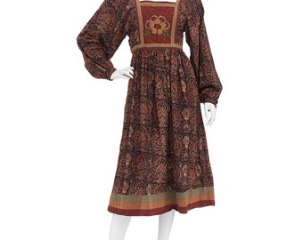 Vintage 70's Earthy Indian PHOOL Ethnic Floral Embroidery Bib Empire Waist Puff Sleeves Hippie Boho Festival Tiered Midi DRESS