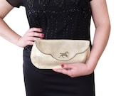 Large leather clutch, Gold clutch, Evening bag, Gold leather purse, with dark horse