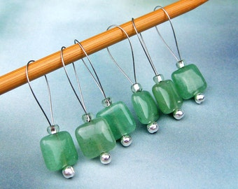 Knitting Stitch Markers, Aventurine Beads, Semi-Precious Stones, Large Size, Snag Free, Knitting Tool, Knitting Accessory, Gift for Knitters