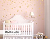 Gold star decal set, gold confetti stars, baby nursery wall decor, star decals, wall decals
