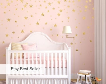 Beau Gold Stars Wall Decals Set, Peel And Stick, Baby Nursery Wall Decor, Star