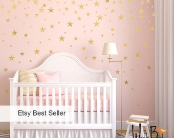 Gold Stars Wall decals Set, Peel and Stick, Baby Nursery Wall Decor, Star Decals, Gold Wall Decals