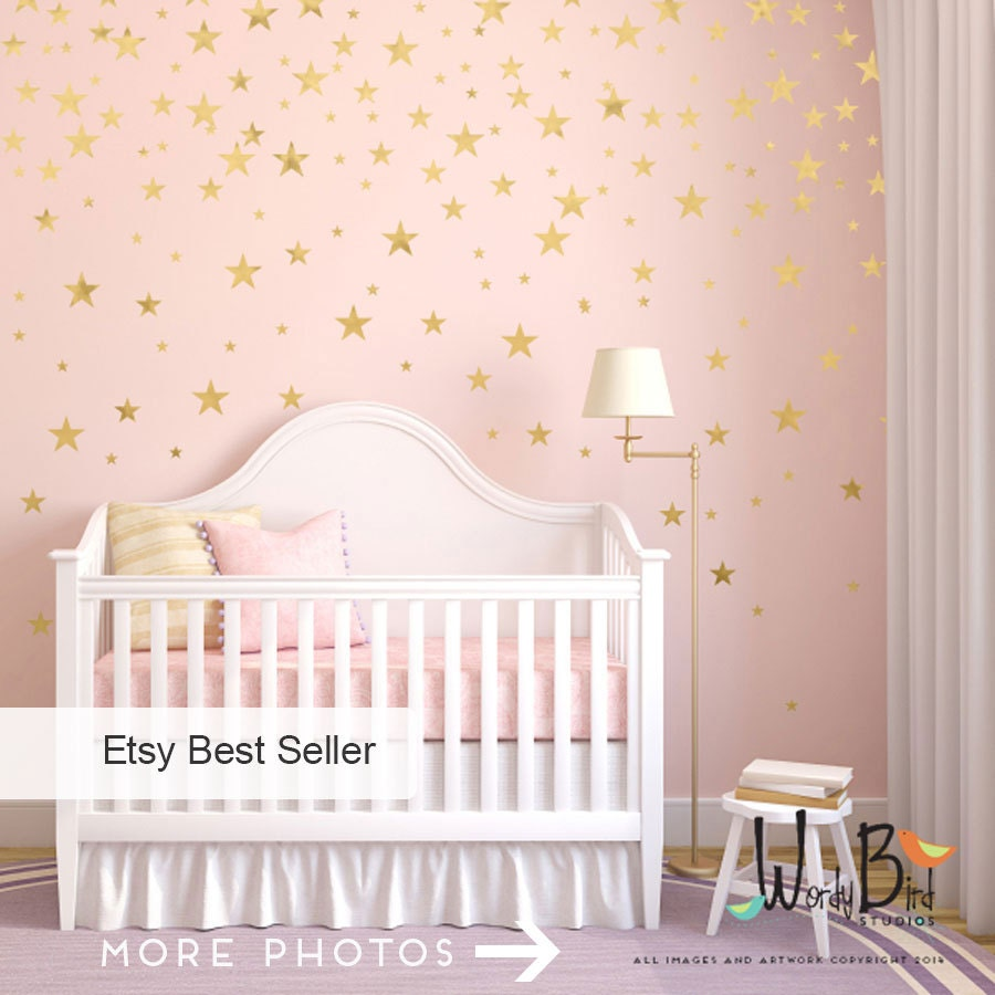 gold stars wall decals set peel and stick baby nursery wall zoom