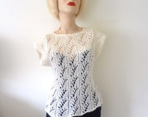 1960s Crochet Wool Sweater - vintage mohair knit top - off white shell