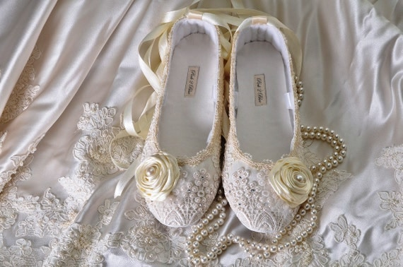 Ballet Flat Wedding Shoes - Victoria Size 11, Vintage Lace, Swarovski Crystals, Pearls, Custom Made Women's Bridal Shoes
