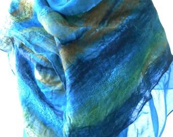 Hand Made, Nuno Felted Shawl - Jewel