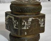 Antique ~Enameled Brass Chinese trinket opium snuff jar box~  Antique Trinket Box
