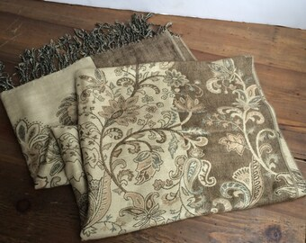 Paisley Floral Scarf Shawl Wrap Taupe and Cream Pashmina