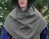 Medieval Wool Hood with Liripipe Dark Green