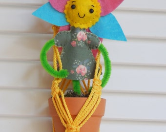 Macrame Plant Holder with Flower Girl #1 Let's Grow Together