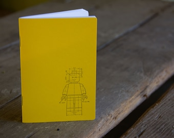 Lego Minifig Notebook, staple bound, letterpress printed eco friendly blank journal, gifts under 10, stocking stuffer