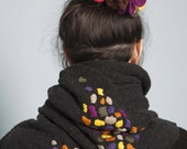 Embroidered Charcoal Cashmere Big Scarf