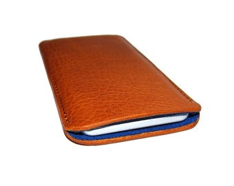 iPhone 6 iPhone 4 or 5, Saddle Tan Grizzly Cowhide Sleeve Case
