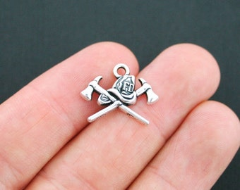4 Fireman Charms Fire Department Charms Antique Silver Tone - SC4931