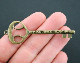 Large Key Charms Antique Bronze Tone Change the World 2 Sided - BC417