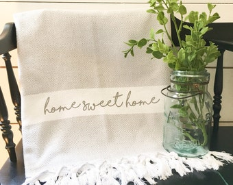 Throw Blanket - Home Sweet Home Throw Blanket Decorative Throw Accent Throw Turkish Towel Peshtemal Grey Throw Blanket Farmhouse Decor