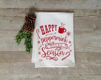 Christmas Tea Towel - Peppermint Mocha Season Holiday Flour Sack Kitchen Dish Cloth Candy Cane Snowflakes Rustic Home Decor Farmhouse Decor