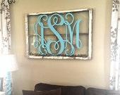 """3-D Wooden Monogram™- 24"""" Interlocking Script Initials- wooden letters for your front door, home, nursery, or wedding- unpainted"""