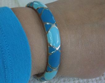 """Vintage bracelet, signed """"T"""" aqua toned enamel hinged cuff bracelet, 7 inch bracelet"""
