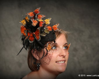 DIY Monarch Butterfly Millinery Hat Kit with Handmade Feather Butterfly, Effie Inspired