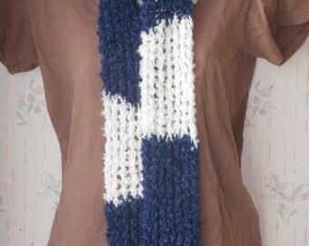 knit scarf blue and white Scarf mesh scarf boucle scarf women's fashion lightweight scarf neckwear fluffy scarf boho scarf PeaceStitchStudio