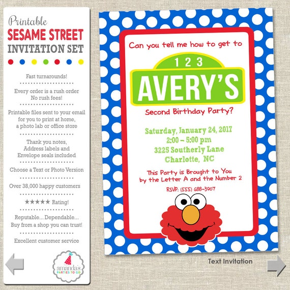 Elmo Birthday Invitation | Sesame Street Invitation | Elmo Party Invitation | Sesame Street Printable Invitation | Amanda's Parties To Go