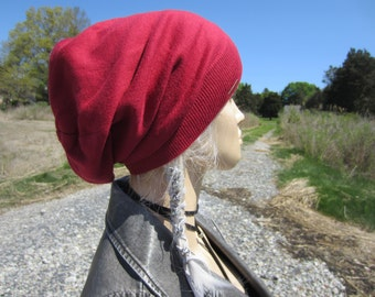 Womens Red Slouchy Beanie Tam Hat Bohemian Style A1111-2