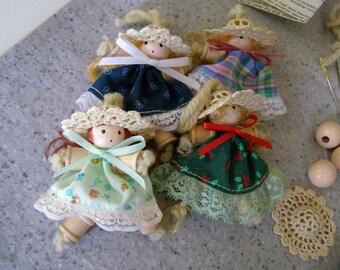 DIY Christmas Ornament Kit Spool Doll Ornaments set of 15