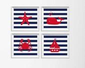 Nautical Nursery Art , Navy Red Beach Nursery Art , Whale Crab Sailboat Nursery Art , Children Playroom Beach Wall Art , Navy Boy Ocean Art