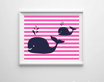 Hot Pink Navy Nautical Nursery Art, Nursery Art Beach Hot Pink Navy, Whale Baby Girl Nursery Wall Decor, Beach Nursery Decor, Whale Nursery