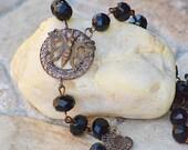 Rosary necklace / Butterfly necklace / vintaj / Bohemian necklace / bohemian jewelry