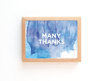 Watercolor Thank You Card | Painted Many Thanks Greeting Card | Blue Painting | Box Set or Single