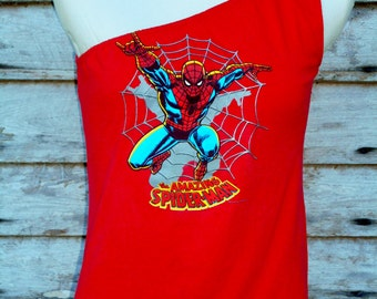 The Amazing SPIDERMAN  womens One Shoulder red strapless top upcycled repurposed T Shirt S - M
