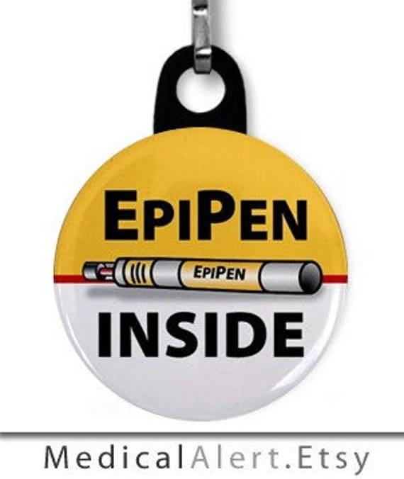 EPIPEN INSIDE Medical Alert Zipper Pull Charm (Choose Size and Backing Color)