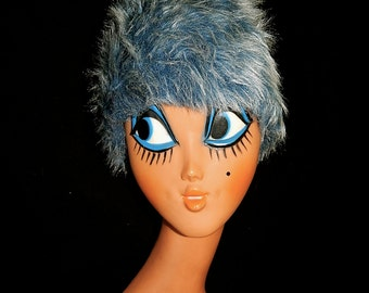 Large vintage stylish 50's 60's faux fur pale blue grey long hairs atomic bombshell pin up fluffy yeti hat cone pill box by Glenoit