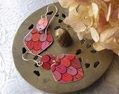 Pink Tin Earrings- Italian Candy Tin Earrings- Dappled Pinks