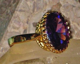 The Oracle's Violet Flame - HUGE Antique African Amethyst & Sterling Silver Ring - Clairvoyance, Tranquility, Psychic Awareness