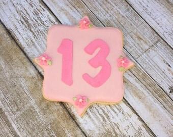 """Batmitzvah """"13"""" Birthday Cookie Favors - 1 Dozen"""