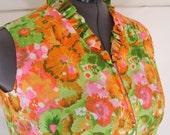 48B-47W-52H, Hawaiian dress, plus size, Queen Emma of Honolulu for Sears, size 38 = modern 18 or 20, vintage 1970's, not a muumuu
