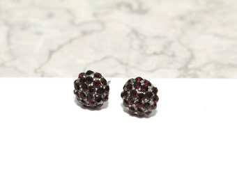 Small Stud Earrings with Pave Dark Red Swarovski Crystals