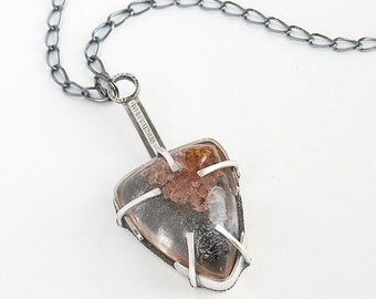 Plume Agate Necklace Claw Setting Modern Arrow Head Design Sterling Silver Oxidized